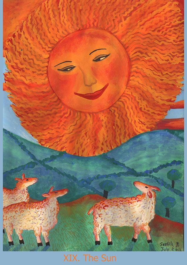 Tarot Painting - Tarot 19 The Sun by Sushila Burgess