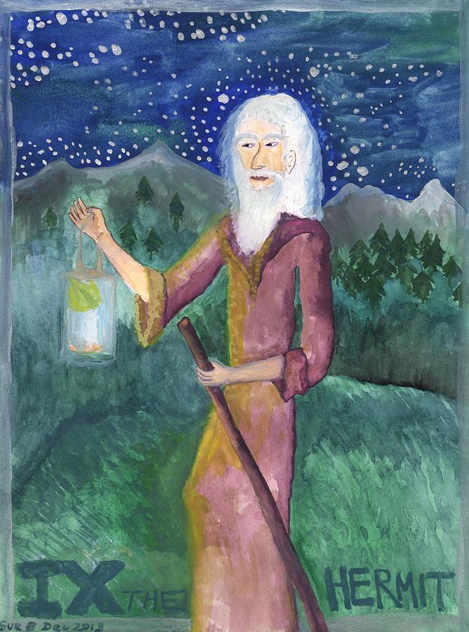 Tarot Painting - Tarot 9 The Hermit by Sushila Burgess
