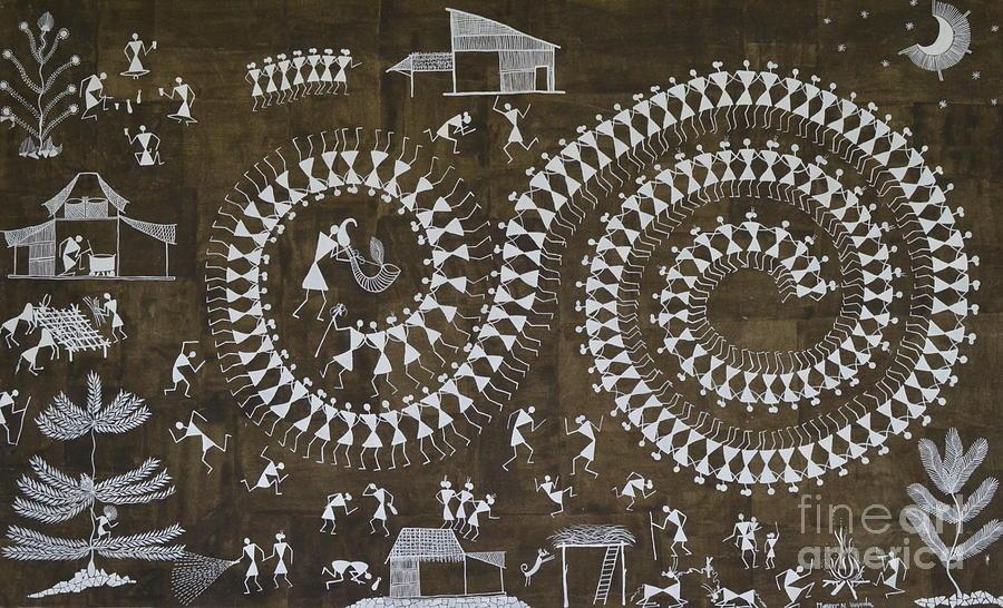Tarpa dance original warli painting painting by mayur vayeda warli painting tarpa dance original warli painting by mayur vayeda altavistaventures Image collections