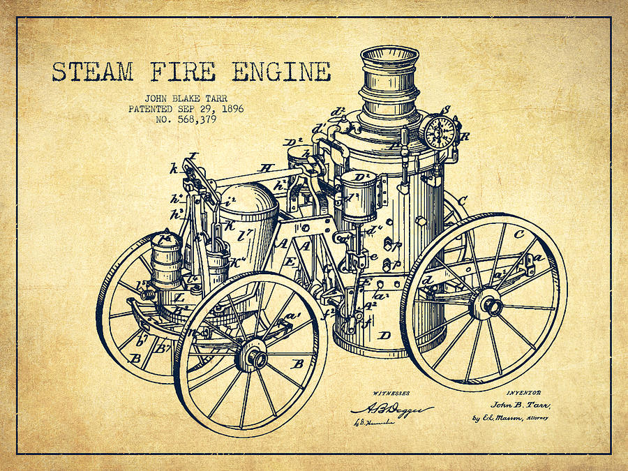 Tarr Steam Fire Engine Patent Drawing From 1896 - Vintage Digital ...