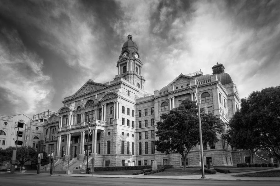 Courthouse Photograph - Tarrant County Courthouse Bw by Joan Carroll