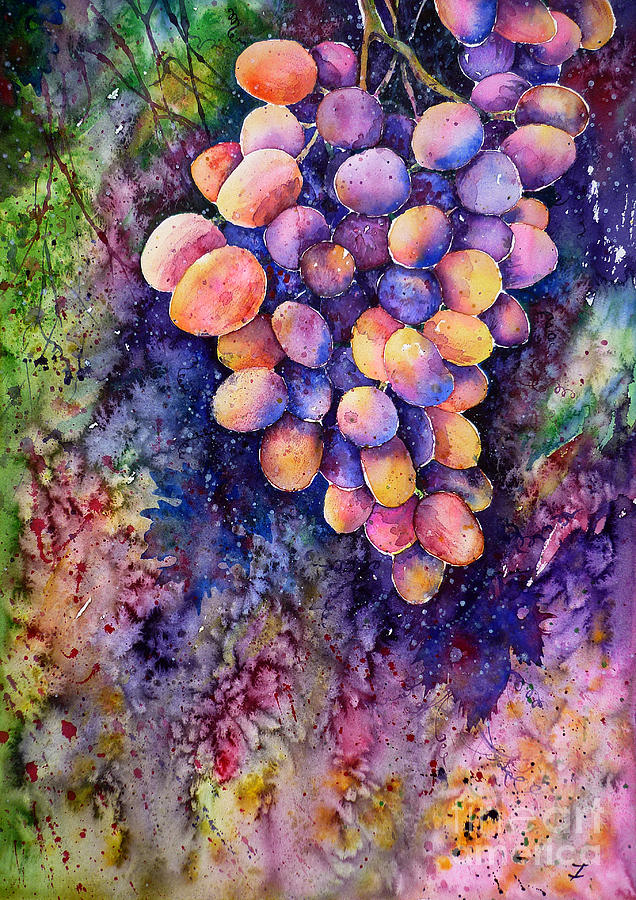 Grapes Painting - Taste Of The Sun by Zaira Dzhaubaeva