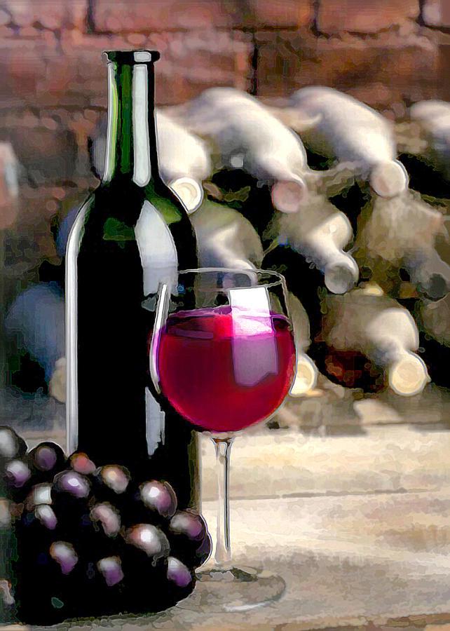 Wine Painting - Tasting Time by Elaine Plesser