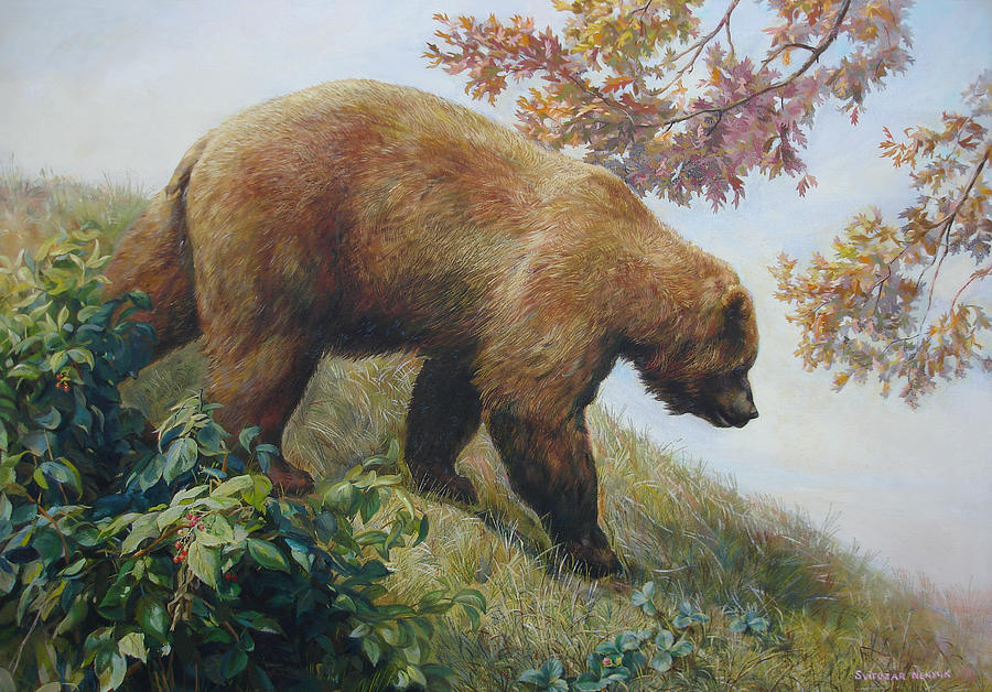 Bear Painting - Tasty Raspberries For Our Bear by Svitozar Nenyuk