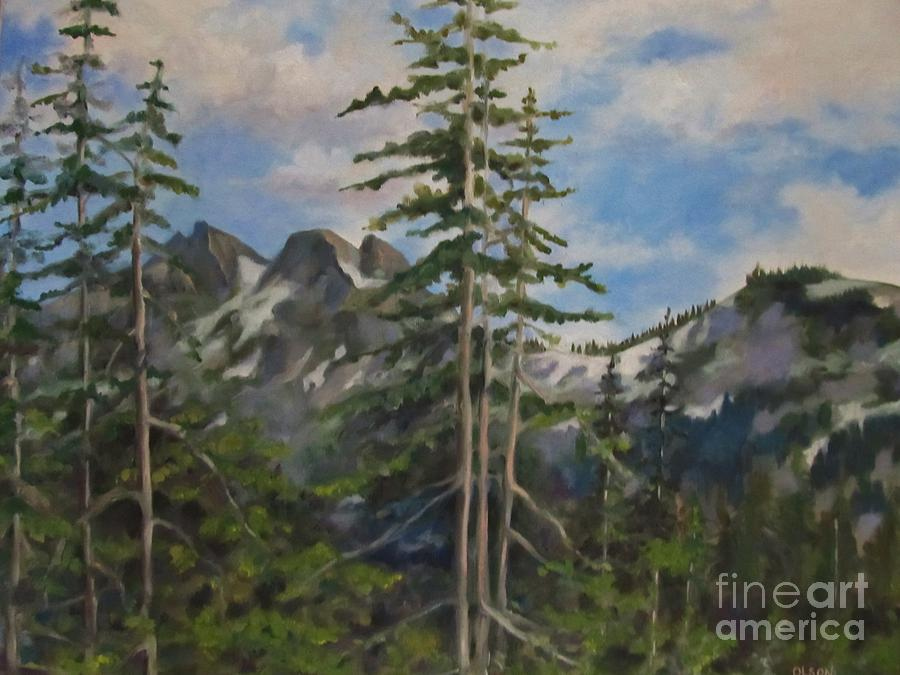 Landscape Painting - Tatoosh Mountains In Cascades by Karen Olson