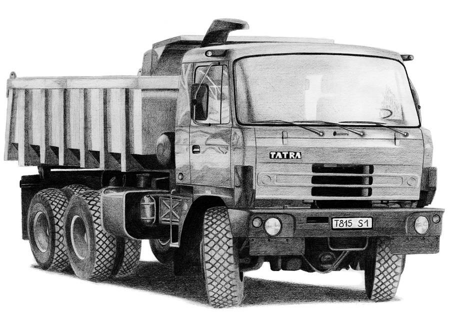 Truck Drawing - Tatra 815 S1 by Milan Surkala