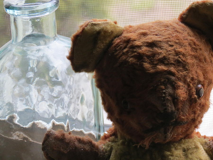 Teddy Bear Glass Art - Tattered With Love by Devin Stone