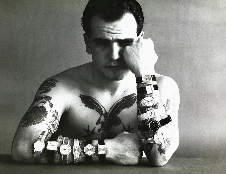 Tattooed Model Wearing Watches Photograph by Carl Fischer