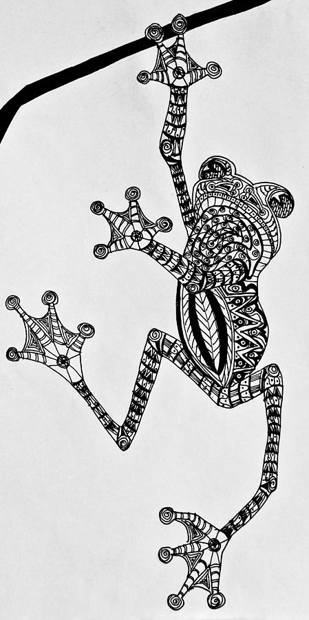 Tree Frog Drawing - Tattooed Tree Frog - Zentangle by Jani Freimann
