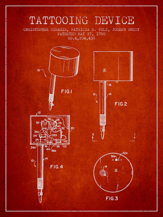 Tattoo Machine Digital Art - Tattooing Device Patent From 1980 - Red by Aged Pixel