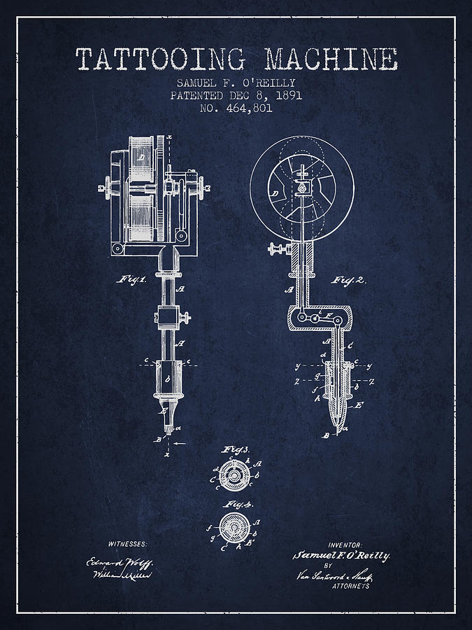 tattoo digital art - tattooing machine patent from 1891 - navy blue by aged  pixel