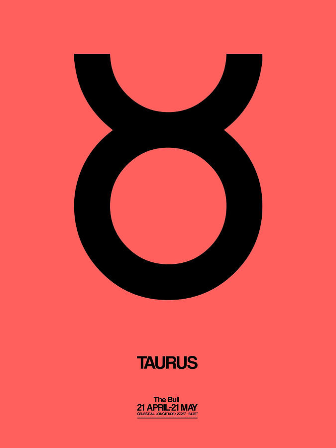 Taurus Digital Art - Taurus Zodiac Sign Black  by Naxart Studio