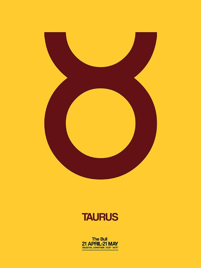 Taurus Digital Art - Taurus Zodiac Sign Brown by Naxart Studio