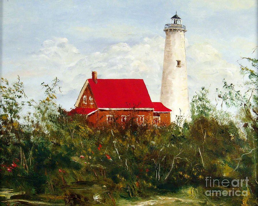Lighthouse Painting - Tawas by Lee Piper