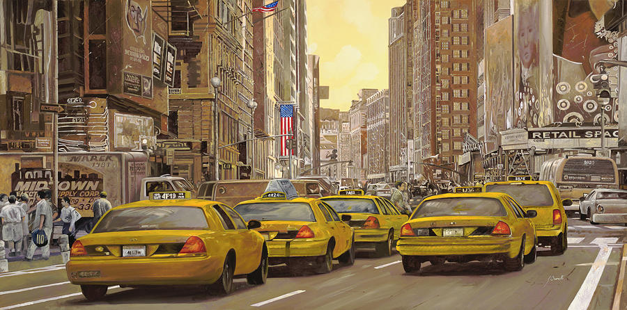 New York Painting - taxi a New York by Guido Borelli