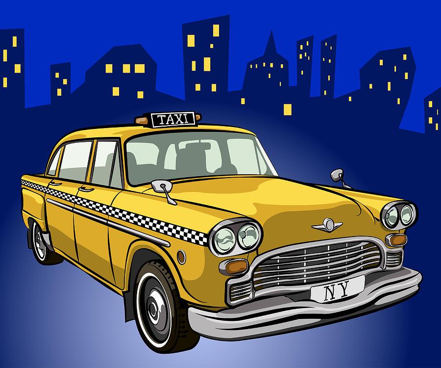 Car Digital Art - Taxi Cab by Volodymyr Horbovyy
