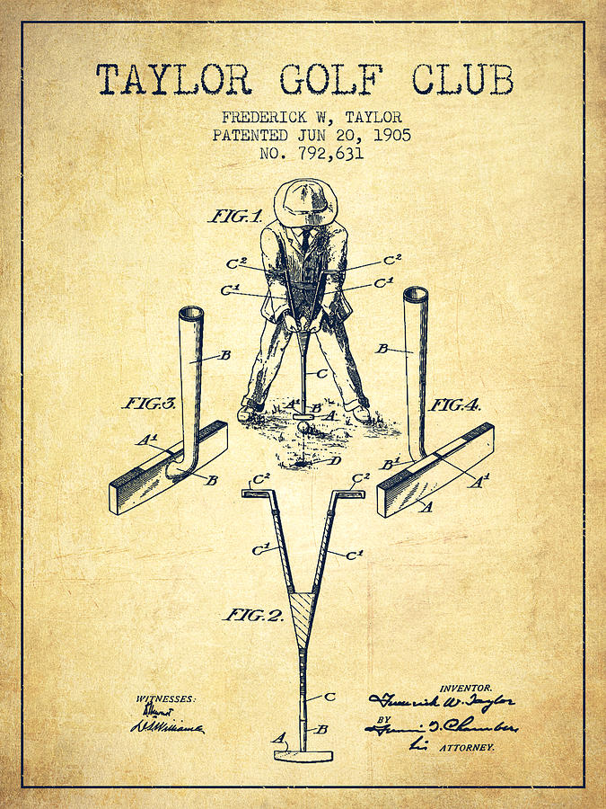 Taylor Golf Club Patent Drawing From 1905 - Vintage Digital Art