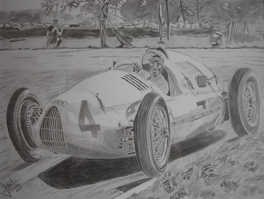 Tazio Nuvolari Drawing - Tazio Nuvolari by Jose Mendez