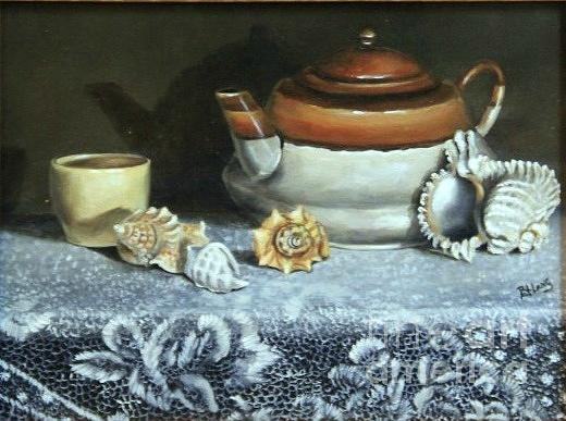 Tea Pot Painting - Tea At The Sea by Patricia Lang