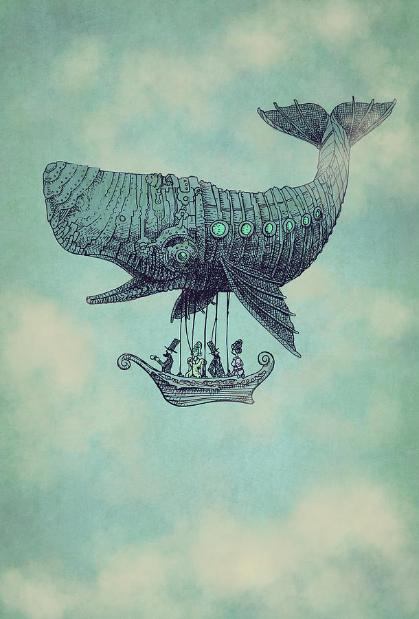 Whale Drawing - Tea at Two Thousand Feet by Eric Fan