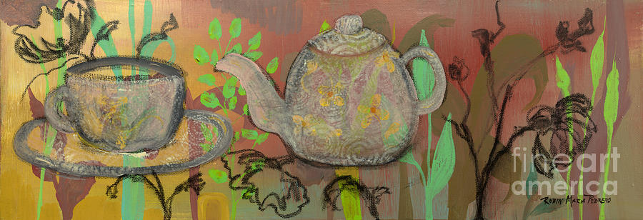 Teapot Painting - Tea Blossoms by Robin Maria Pedrero