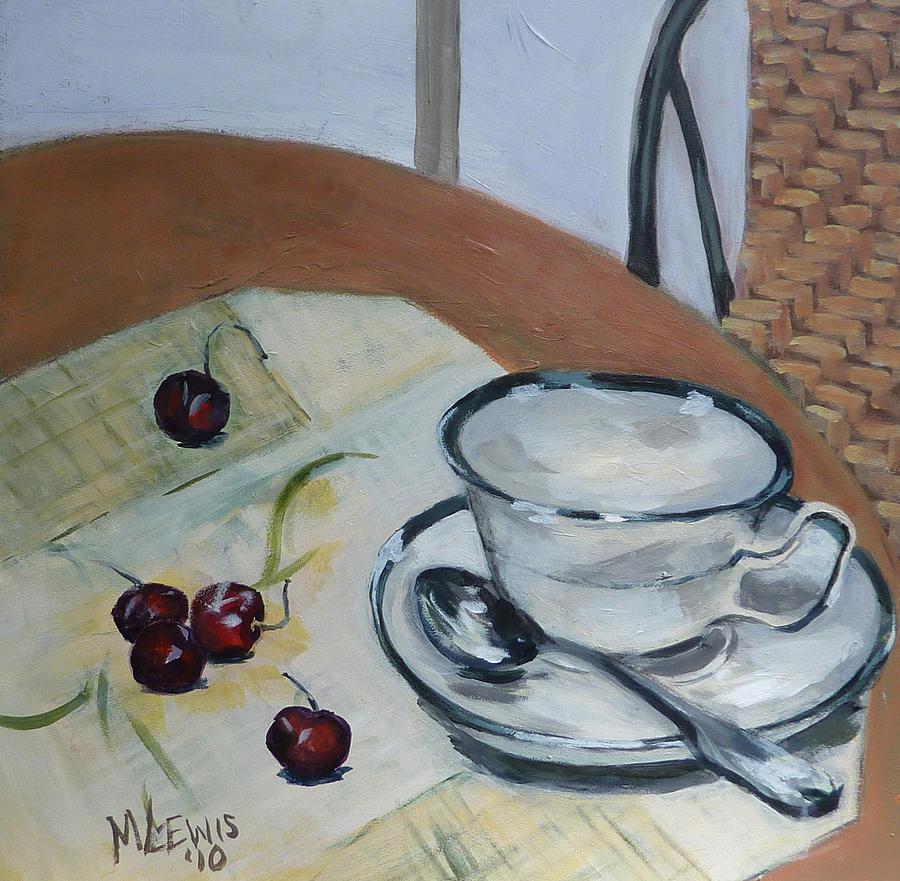 Tea Cup and Cherries by Melanie Lewis