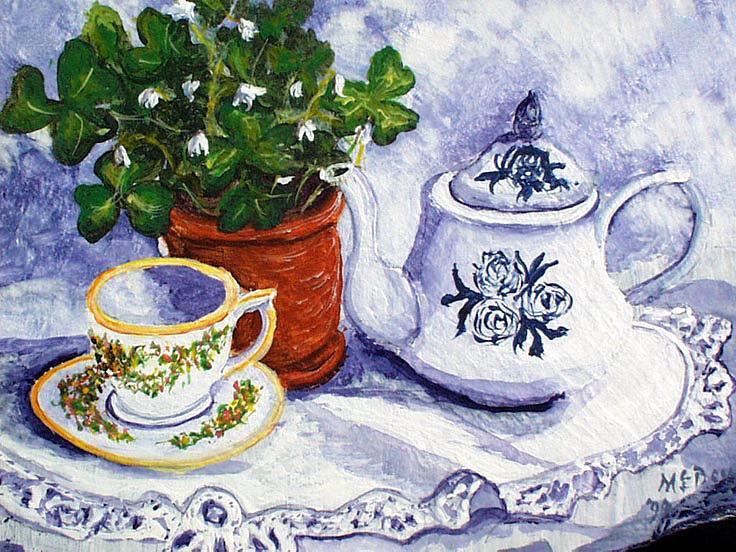 Tea Painting - Tea For Nancy by Barbara McDevitt
