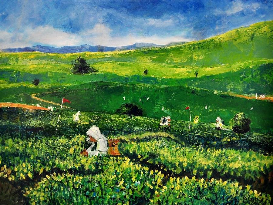 Landscape Painting - Tea Garden by Auckel Vishal