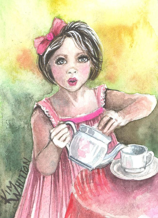 Child Painting - Tea Granny by Kim Whitton