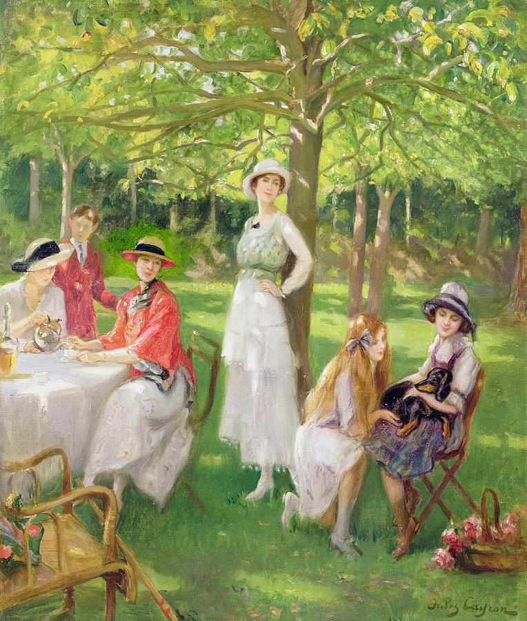 Tea In The Garden Painting By Jules Cayron