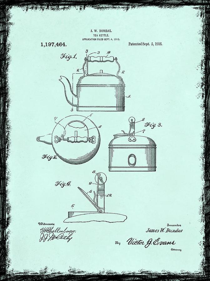 Tea Kettle Photograph - Tea Kettle Patent 1916 by Mark Rogan