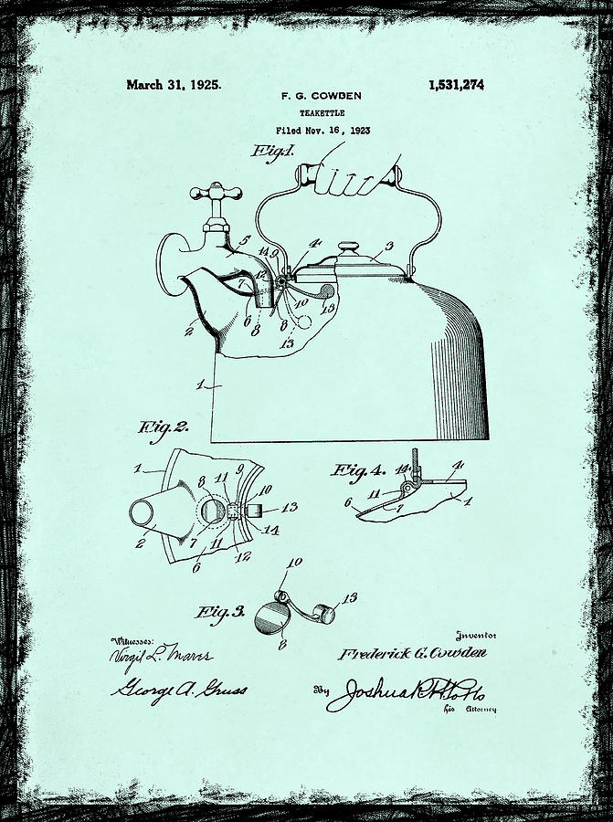 Tea Kettle Photograph - Tea Kettle Patent 1923 by Mark Rogan
