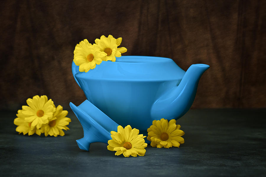 Azure Photograph - Tea Kettle With Daisies Still Life by Tom Mc Nemar