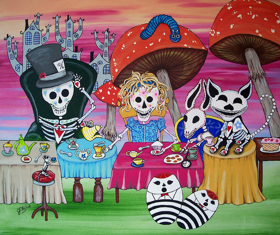 Tea Party Day Of The Dead Alice In Wonderland Painting By