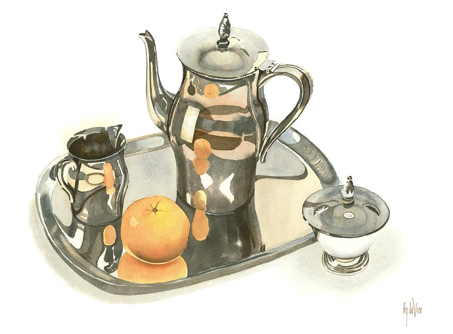 Watercolor Painting - Tea Service With Orange Dramatic by Kip DeVore