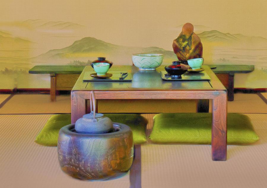Japanese Photograph - Tea Setting by Joseph Hollingsworth