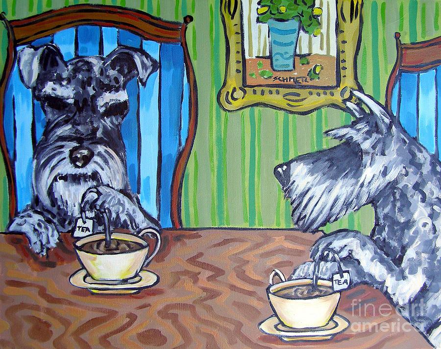 Schnauzer Painting - Tea Time For Schnauzers by Jay  Schmetz