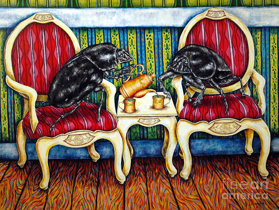 Dung Beetles Painting - Tea Time by Jay  Schmetz