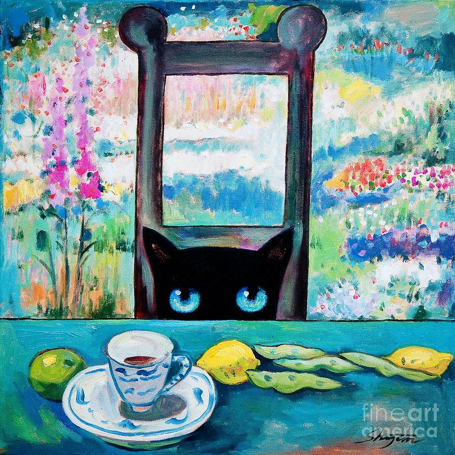 Cat Painting - Tea Time Kitty by Shijun Munns
