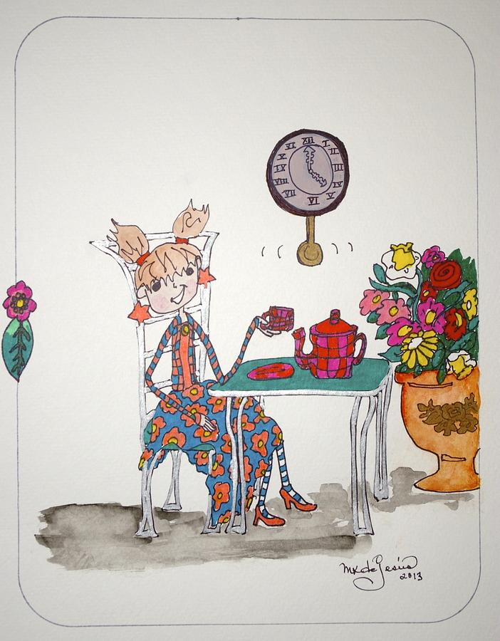 Tea Time Drawing - Tea Time by Mary Kay De Jesus