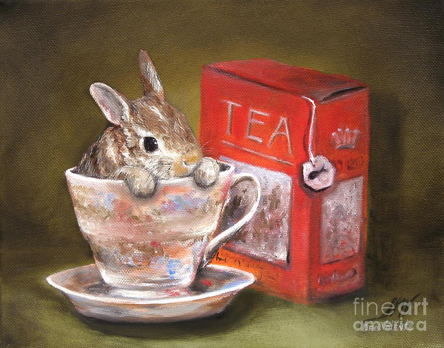 Rabbit Painting - Tea Time by Stella Violano