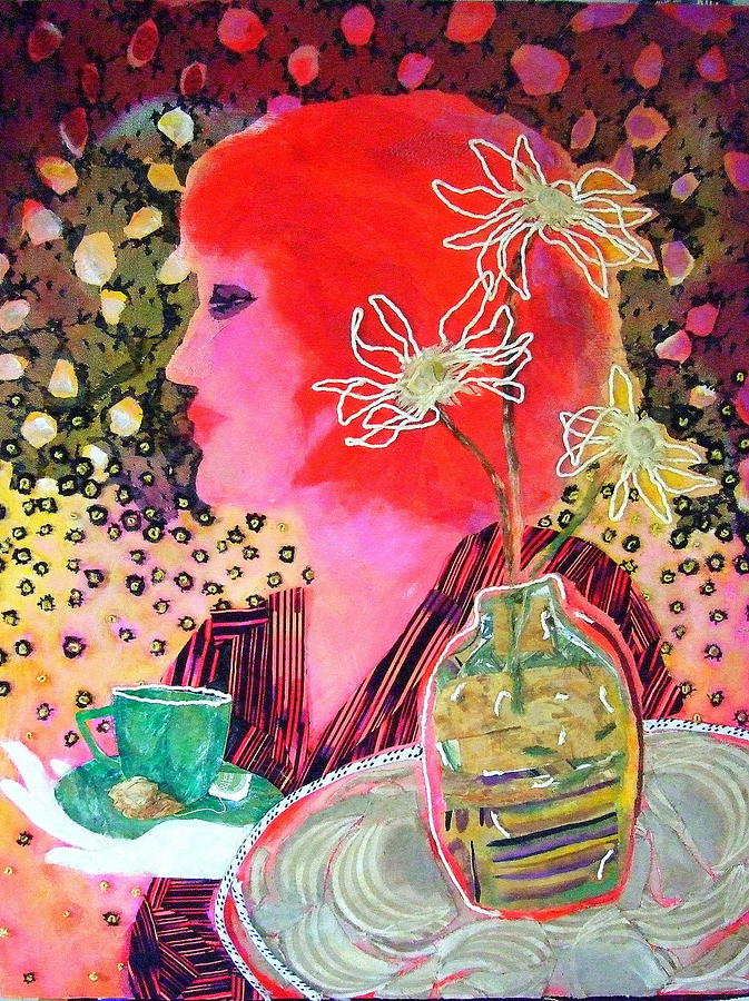 Flowers In A Vase Mixed Media - Teabag by Diane Fine