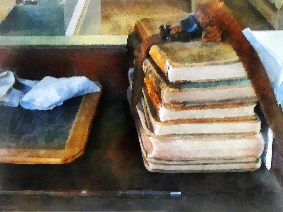 School Photograph - Teacher - Old School Books And Slate by Susan Savad