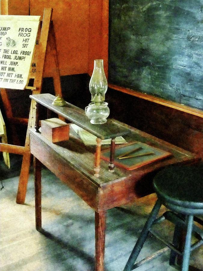 Teacher Photograph - Teacher - Teachers Desk With Hurricane Lamp by Susan Savad