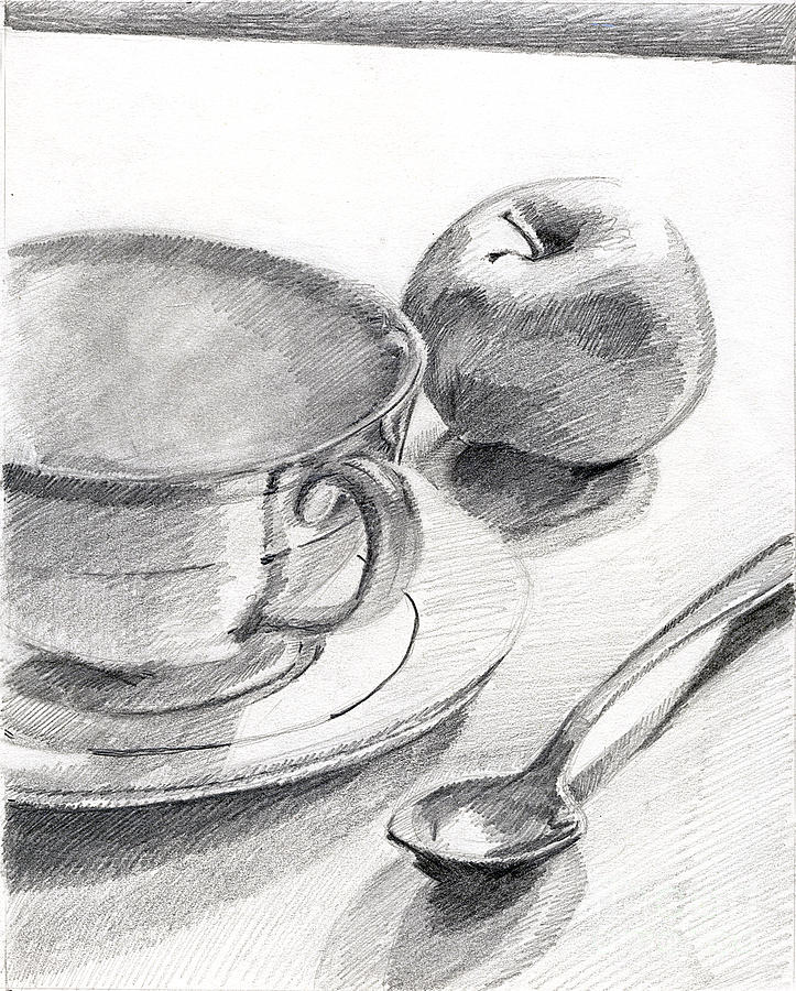 Teacup With Apple And Spoon Drawing By John Castell