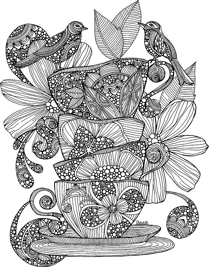 Teacups Birds And Flowers Drawing By Valentina Harper