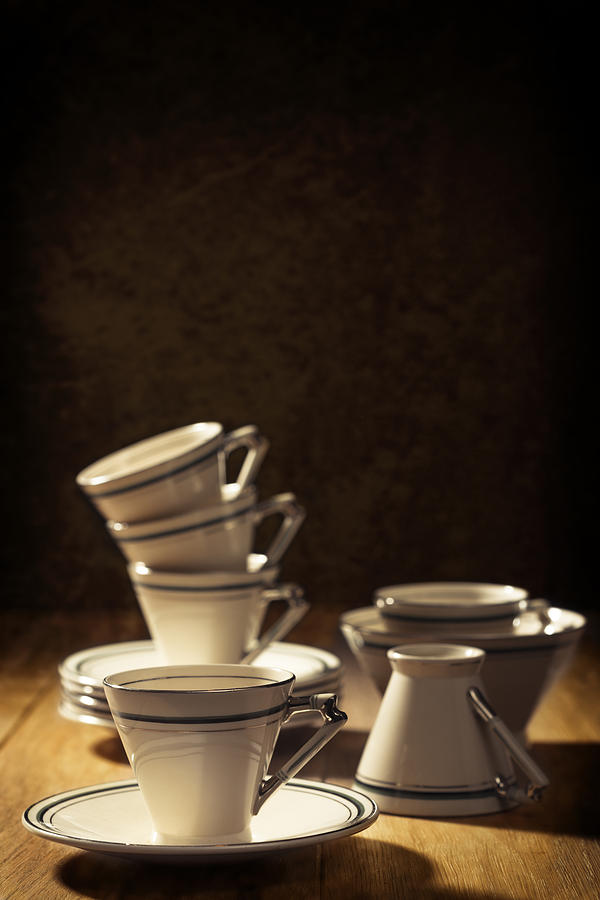Stack Photograph - Teacups by Amanda Elwell