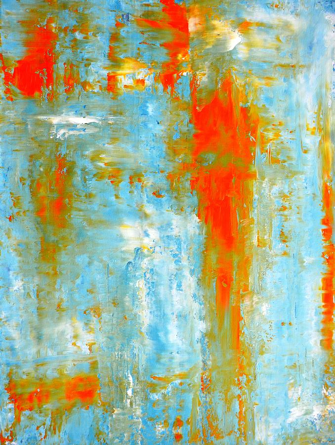 Top It Off Teal And Orange Abstract Art Painting