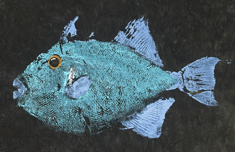 Gyotaku Painting - Gyotaku Triggerfish by Captain Warren Sellers