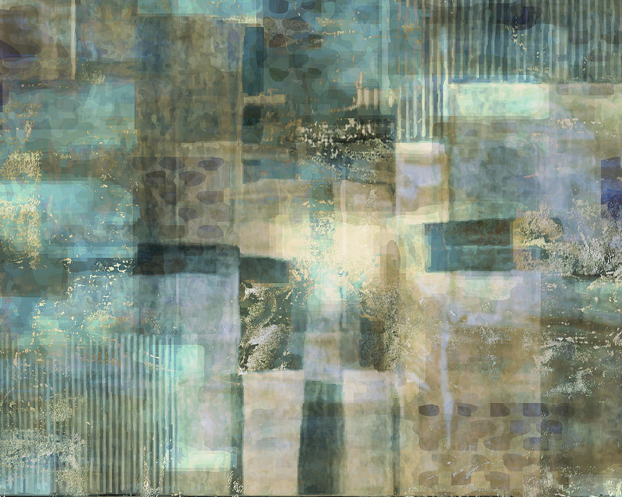 Abstract Painting - Teal Luminous Layers by Lee Ann Asch